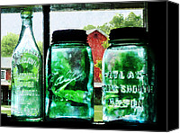 Farming Barns Canvas Prints - Bottles and Canning Jars Canvas Print by Susan Savad