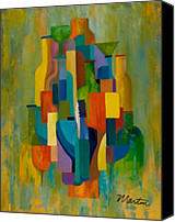 Cubism Canvas Prints - Bottles and Glasses Canvas Print by Larry Martin