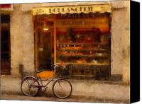 Bike Canvas Prints - Boulangerie and Bike Canvas Print by Mick Burkey