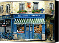 Street Scene Canvas Prints - Boulangerie de Montmartre Canvas Print by Marilyn Dunlap