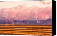 Storm Prints Canvas Prints - Boulder County Farm Fields Lightning Fantasy Canvas Print by James Bo Insogna