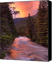 Gallatin River Canvas Prints - Boulder River Sunset Canvas Print by Leland Howard