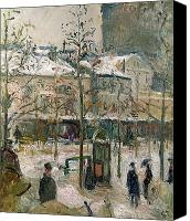 Raining Canvas Prints - Boulevard de Rocheouart in Snow Canvas Print by Camille Pissarro
