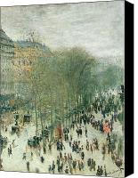 Monet Painting Canvas Prints - Boulevard des Capucines Canvas Print by Claude Monet