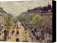 Carriages Canvas Prints - Boulevard Montmartre Canvas Print by Camille Pissarro