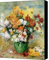 Chrysanthemums  Canvas Prints - Bouquet of Chrysanthemums Canvas Print by Pierre Auguste Renoir