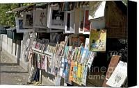 Ile De France Canvas Prints - Bouquiniste book seller at quays of Seine Paris Canvas Print by Bernard Jaubert