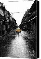 Black And White Canvas Prints - Bourbon Street Taxi French Quarter New Orleans Color Splash Black and White Fresco Digital Art Canvas Print by Shawn OBrien