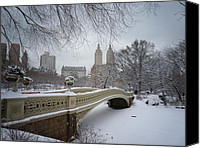 Snowy Canvas Prints - Bow Bridge Central Park in Winter  Canvas Print by Vivienne Gucwa