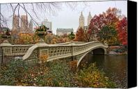 Trees Canvas Prints - Bow Bridge In Central Park Canvas Print by June Marie Sobrito