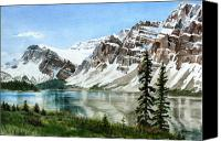 Rocky Mountains Canvas Prints - Bow Lake Alberta No.2 Canvas Print by Debbie Homewood