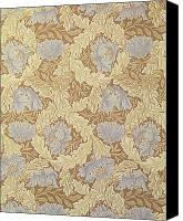 Textile Tapestries - Textiles Canvas Prints - Bower Wallpaper Design Canvas Print by William Morris