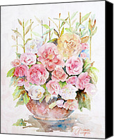Floral Canvas Prints - Bowl Full Of Roses Canvas Print by Arline Wagner