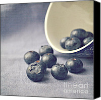 Featured Canvas Prints - Bowl of Blueberries Canvas Print by Lyn Randle
