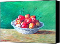 Impressionism Art Mixed Media Canvas Prints - Bowl With Rainier Cherries Canvas Print by Dan Haraga