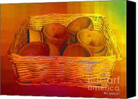 Wooden Bowls Canvas Prints - Bowls in Basket Moderne Canvas Print by RC DeWinter