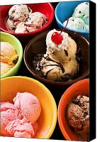 Bowls Canvas Prints - Bowls of different flavor ice creams Canvas Print by Garry Gay
