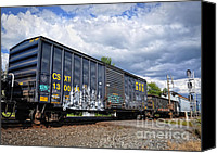 Boxcar Canvas Prints - Boxcar Graffiti Canvas Print by Pamela Baker
