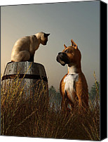 Animals Digital Art Canvas Prints - Boxer and Siamese Canvas Print by Daniel Eskridge