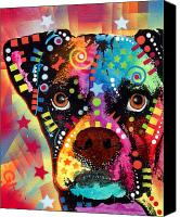 Pet Portrait Canvas Prints - Boxer Cubism Canvas Print by Dean Russo