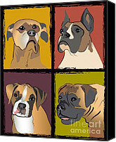 Boxer Canvas Prints - Boxer Dog Portraits Canvas Print by Robyn Saunders