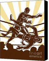 Fighting Canvas Prints - Boxer knocking out Canvas Print by Aloysius Patrimonio