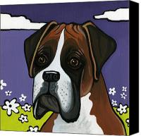 Boxer Dog Canvas Prints - Boxer Canvas Print by Leanne Wilkes