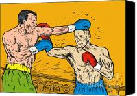 Retro Style Canvas Prints - Boxer punching Canvas Print by Aloysius Patrimonio