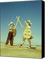 10:7 Canvas Prints - Boy And Girl (7-10) Crossing Toy Swords Canvas Print by Archive Holdings Inc.