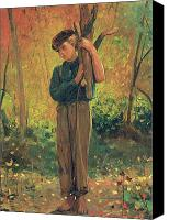 Son Canvas Prints - Boy Holding Logs Canvas Print by Winslow Homer