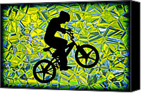 Susan Leggett Digital Art Canvas Prints - Boy on a Bike Silhouette Canvas Print by Susan Leggett