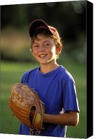 Baseball Mitt Canvas Prints - Boy With Baseball Glove Canvas Print by John Sylvester