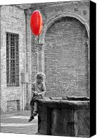 Fineartam Canvas Prints - Boy with red balloon Canvas Print by Michael Avory