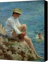 Teen Painting Canvas Prints - Boys Bathing Canvas Print by Henry Scott Tuke