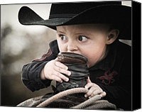 Cowboy Hat Canvas Prints - Boys I cut my teeth on a ropin saddle Canvas Print by Ron  McGinnis