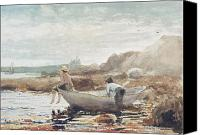 On The Beach Canvas Prints - Boys on the Beach Canvas Print by Winslow Homer