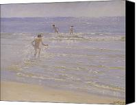 Swim Canvas Prints - Boys Swimming Canvas Print by Peder Severin Kroyer 
