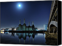 Battersea Canvas Prints - Bps By Moonlight Canvas Print by Michael Murphy