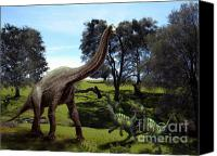 Reptiles Mixed Media Canvas Prints - Brachiosaurus Attacked by Velociraptors Canvas Print by Frank Wilson
