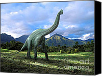 Reptiles Mixed Media Canvas Prints - Brachiosaurus In Meadow Canvas Print by Frank Wilson