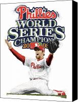 All Star Digital Art Canvas Prints - Brad Lidge WS Champs Logo Canvas Print by Scott Weigner