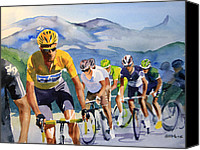 Tour De France Canvas Prints - Brad Wiggins in Yellow Canvas Print by Shirley  Peters