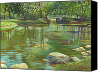 Bridge Pastels Canvas Prints - Bradford MA College Pond Canvas Print by Leslie Alfred McGrath