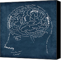 Energy Canvas Prints - Brain drawing on chalkboard Canvas Print by Setsiri Silapasuwanchai