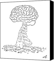 Robert May Canvas Prints - Brain Tree Canvas Print by Robert May