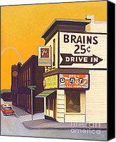 Diners Canvas Prints - Brains and Donuts Canvas Print by The Vintage Painter