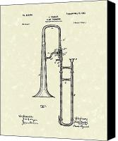 Antique Drawings Canvas Prints - Brass Trombone Musical Instrument 1902 Patent Canvas Print by Prior Art Design