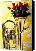Rose Flower Canvas Prints - Brass tuba with red roses Canvas Print by Garry Gay