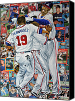 Major League Baseball Painting Canvas Prints - Braves Celebrate Canvas Print by Michael Lee