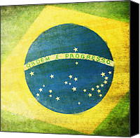 Waving Canvas Prints - Brazil flag Canvas Print by Setsiri Silapasuwanchai